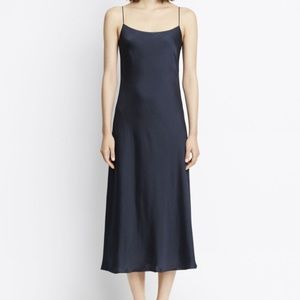 Wash Satin Midi Slip Dress Navy Coastal Blue